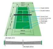 Court de tennis avec des dimensions Photographie stock