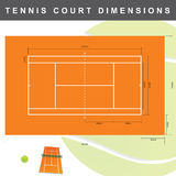 Court de tennis avec l'illustration de dimensions Image stock
