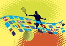 Court de tennis avec les bannières nationales Image libre de droits