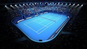 Court de tennis et stade bleus complètement des spectateurs de la vue supérieure Image libre de droits