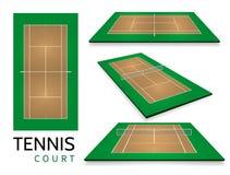 Court de tennis Vue supérieure et perspective différente, vecteur eps10 illustration libre de droits