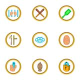 Court evidence icons set, cartoon style. Court evidence icons set. Cartoon set of 9 court evidence vector icons for web isolated on white background Stock Image