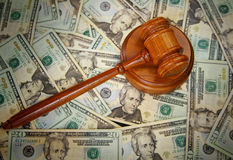 Court gavel. On U.S. Twenty dollar bills Royalty Free Stock Photography