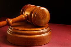 Court gavel. Closeup of a judges wooden court gavel Royalty Free Stock Photography