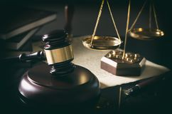Court gavel, scale of justice, law theme Royalty Free Stock Images