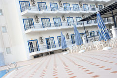 The court of Greek hotel. Court of Greek hotel, Corfu Stock Photos