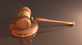 Court Hammer. 3D rendered Illustration. An auction or court hammer Stock Image