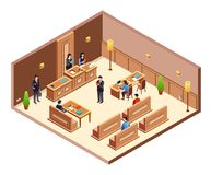 Court hearing cross section vector illustration vector illustration