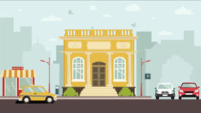 Court House Building. Big brown building with four white columns in simple cartoon style isolated illustration. Two floors. Round clock on top of establishment Stock Photography