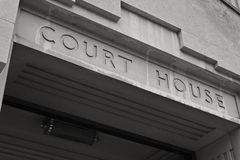 Court House Facade in Black and White I Royalty Free Stock Photography