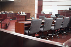 Court house interior. Before the prosecution stock photo
