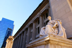 Court House and Post Office. Outside of the courthouse and post office building in downtown Indianapolis, IN with a statue in the foreground Royalty Free Stock Photo