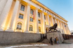 The Court House. Sofia/Bulgaria - February 11, 2015: In central Sofia, Bulgaria, stands the Palace of Justice with Greek style columns and Lion statues royalty free stock photo