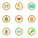 Court icons set, cartoon style. Court icons set. Cartoon set of 9 court vector icons for web isolated on white background Royalty Free Stock Photos