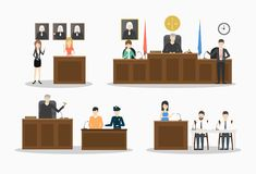 Court illustrations set. Lawyers and witnesses, judje and police on white background vector illustration