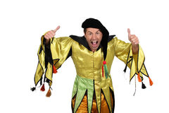 Court jester. Man dressed as a court jester stock photo