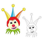 Court jester cartoon. Colorful court jester cartoon isolated over white. The blank version could be used for coloring book pages for children Stock Images