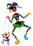 Court jester holds a marionette Royalty Free Stock Images