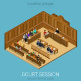 Court jury isometric session room concept. Court jury session room concept flat 3d web isometric infographic vector. People in auditory listening to lecture Royalty Free Stock Images