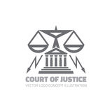 Court of justice - vector logo concept illustration in classic graphic line style. Law logo icon. Legal logo icon. Scales logo ico Stock Image