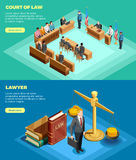 Court Of Law Banners. Set of two horizontal law banners with isometric compositions of court proceedings with read more button vector illustration royalty free illustration