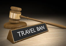Court law concept of a legal ruling to block travel ban restrictions, 3D rendering Stock Image