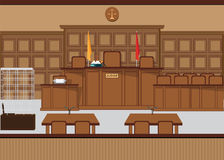 Court of law hall with wooden furniture. Royalty Free Stock Images