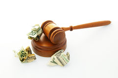 Court legal gavel and cash Stock Photos