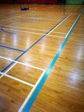 Court line markings on multi function sports hall floor. A sport concert photo showing the many different colors lines marking on the floor of a multi purpose Stock Images