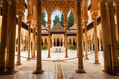 Court of the Lions in Alhambra de Granada, Spain. General view of the Court of the Lions and its famous white marble fountain Stock Image