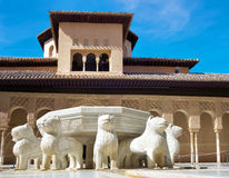 The Court of the Lions, Alhambra. Lion Fountain in Alhambra palace, Granada, Spain Stock Photography