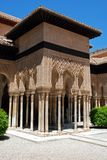 Court of the Lions, Alhambra Palace. Marble arches forming the arcades surrounding the court of the Lions (Patio de los leones), Palace of Alhambra, Granada Stock Image