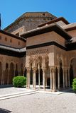Court of the Lions, Alhambra Palace. Marble arches forming the arcades surrounding the court of the Lions (Patio de los leones), Palace of Alhambra, Granada Royalty Free Stock Photo