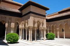 Court of the Lions, Alhambra Palace. Marble arches forming the arcades surrounding the court of the Lions (Patio de los leones), Palace of Alhambra, Granada Stock Photography