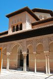 Court of the Lions, Alhambra Palace. Marble arches forming the arcades surrounding the court of the Lions (Patio de los leones), Palace of Alhambra, Granada Stock Images