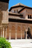 Court of the Lions, Alhambra Palace. Marble arches forming the arcades surrounding the court of the Lions (Patio de los leones), Palace of Alhambra, Granada Stock Photo