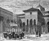 Court of the Lions, Alhambra, vintage engraving Stock Images
