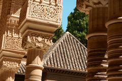 The Court of the Lions (Patio de los Leones). Detail of the Court of the Lions (Patio de los Leones) in the Nasrid Palaces of the Alhambra in Granada, Spain royalty free stock photos
