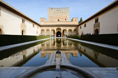 Court of the Myrtles in Alhambra. Courtyard of the Myrtles in Alhambra, Granada, Andalusia, Spain royalty free stock photo