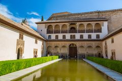 Court of Myrtles Alhambra in Granada. GRANADA, SPAIN - JUNE 14, 2016: The Court of Myrtles of the Alhambra in Granada in a beautiful summer day, Spain on June 14 royalty free stock photography