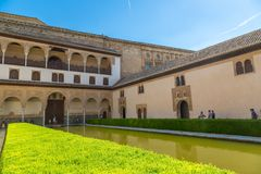 Court of Myrtles Alhambra in Granada. GRANADA, SPAIN - JUNE 14, 2016: The Court of Myrtles of the Alhambra in Granada in a beautiful summer day, Spain on June 14 stock photography