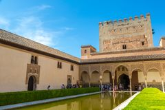 Court of Myrtles Alhambra in Granada. GRANADA, SPAIN - JUNE 14, 2016: The Court of Myrtles of the Alhambra in Granada in a beautiful summer day, Spain on June 14 royalty free stock image