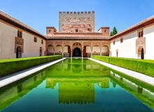 Court of the Myrtles in Nasrid Palace in Alhambra, Granada, Spain stock images