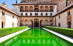 Court of the Myrtles in Nasrid Palace in Alhambra, Granada, Spain royalty free stock images