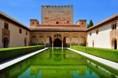 Court of the Myrtles in Nasrid Palace in Alhambra, Granada, Spain stock photos