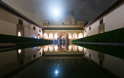 Court of the Myrtles in night time at Alhambra. Court of the Myrtles (Patio de los Arrayanes) in night time at Alhambra. Granada, Spain stock photography