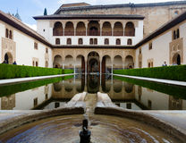 Court of the Myrtles (Patio de los Arrayanes) in day time at Alha Royalty Free Stock Image