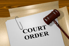 Court Order concept. 3D illustration of COURT ORDER title on legal document Royalty Free Stock Photo