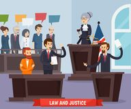 Court Orthogonal Composition. Including judge with gavel, prosecutor, advocate and defendant, jury and interior elements vector illustration Stock Photos