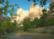 Court Of The Patriarchs, Zion. Image captured of early morning sunlight at the Court Of The Patriarchs in Zion Canyon, Zion National Park, Utah Royalty Free Stock Photos